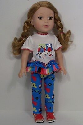 """Debs 2pc Owl SHIRT Pants Doll Clothes For 14/"""" Am Girl Wellie Wisher Wishers"""