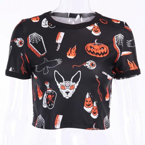 Women Gothic Halloween Printed Tall Waist Slim Short Sleeve Clubwear Crop Tops