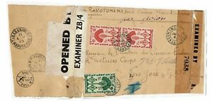 Madagascar-1945-Double-Censored-Cover-to-NY-Pasted-to-Album-Page-Lot-101517