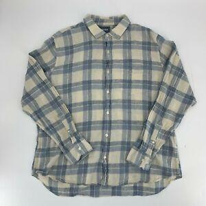 Bonobos-Mens-Button-Down-Shirt-Size-XXL-2XL-Blue-Plaid-Slim-Fit-Linen-Cotton