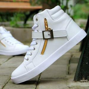 Fashion Men's Lace Up Zip Buckle PU Leather Casual High Top Sneakers Shoes