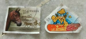 Rm1-sahaja-for-2pc-Canada-Post-Used-Stamp-1-horse-skiing