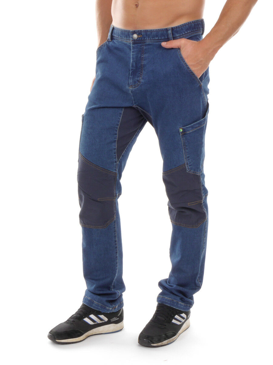PrimEmotion Hose Jeanshose Cargohose blue ökologisch Taschen weit