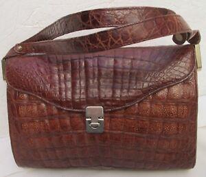 Magnifique-sac-a-main-en-croco-veritable-ESTEVE-TBEG-vintage-bag