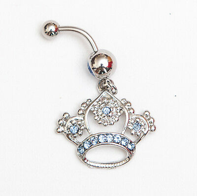 Blue stone crown navel belly bar