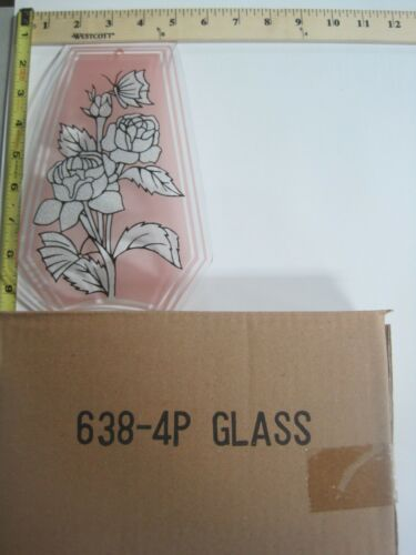 FREE US SHIP OK Touch Lamp Replacement Glass Panel Pink Flower Rose 638-4P