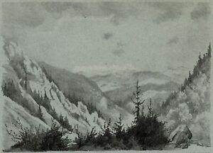 Alsace-Vosges-Vue-du-Col-de-la-Schlucht-Lithographie-originale-Laure-Cuvier