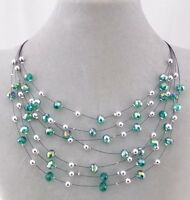Layered Emerald Green And Silver Bead Necklace Sparkly Fashion Jewelry