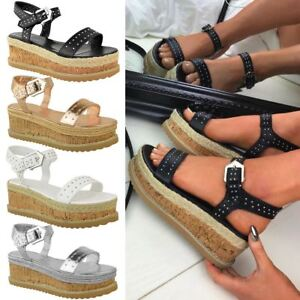 8ab6b5a97e3 Image is loading Womens-Ladies-Black-Stud-Flatform-Sandals-Summer-High-