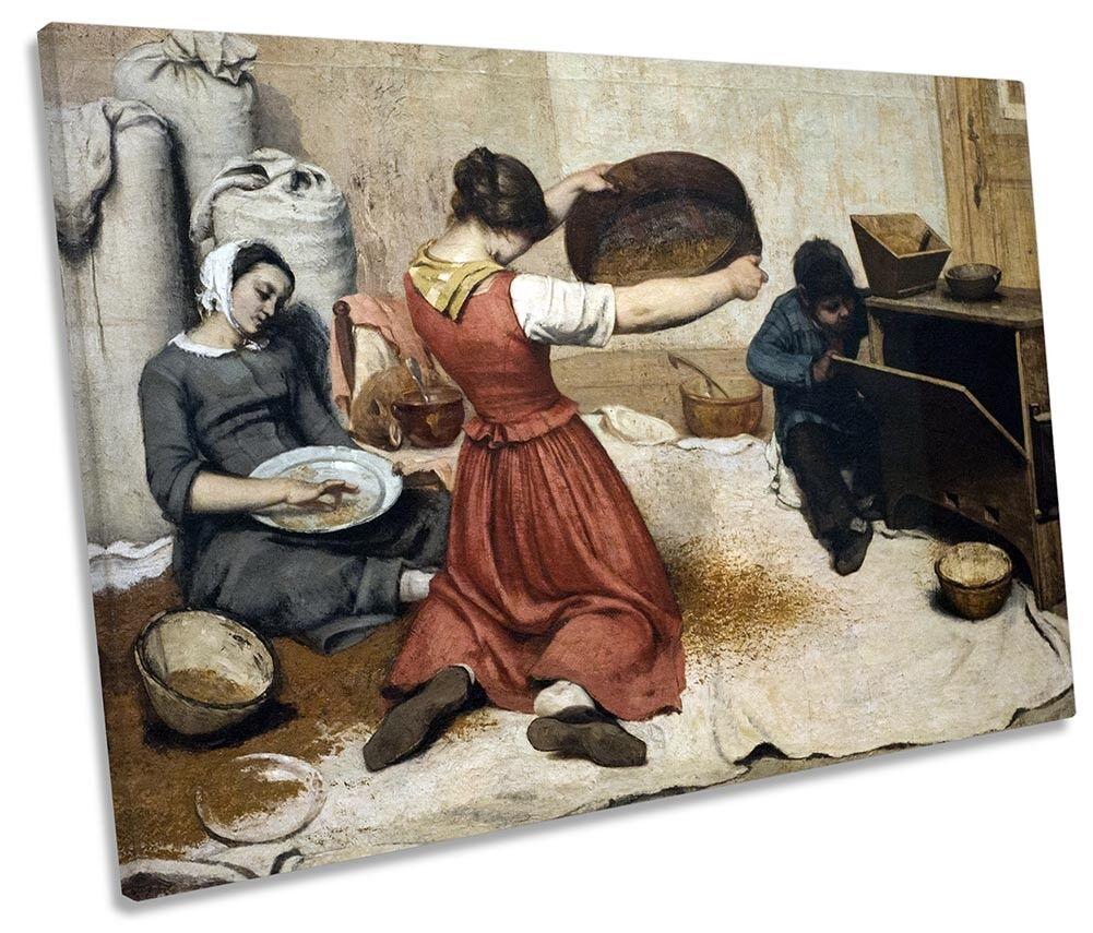 Gustave Courbet Courbet Courbet il grano Vagli Foto Tela Singola Wall Art Print 38f18a