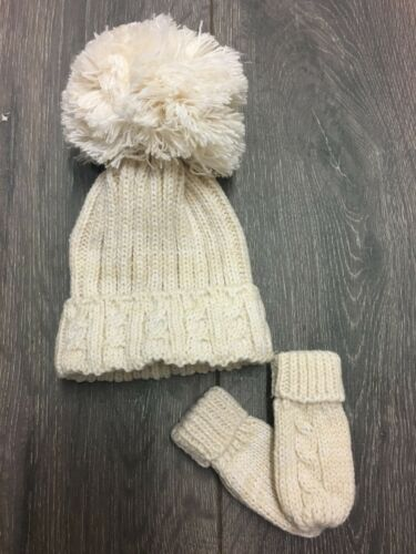 baby babies CABLE BOBBLE HAT /& MITTS OATMEAL boys girls winter hats 0-12