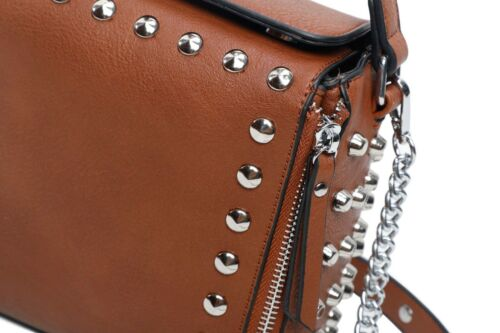 Women/'s Ladies Studded Tote Shoulder bag Plain PU Leather Crossbody Handbag.