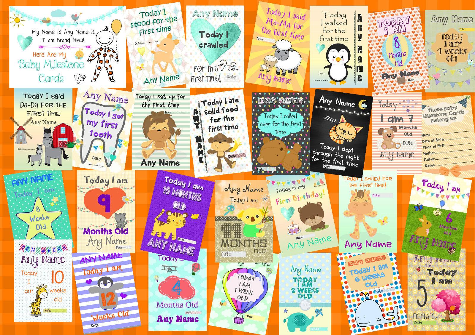 Set di qualsiasi genere genere genere ragazzi o ragazze personalizzato Baby Milestone Photo Prop CARDS 8d405f