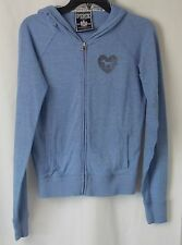 Victorias Secret PINK Hoodie Jacket Zip Front Amazing Back Graphic Blue M #4237