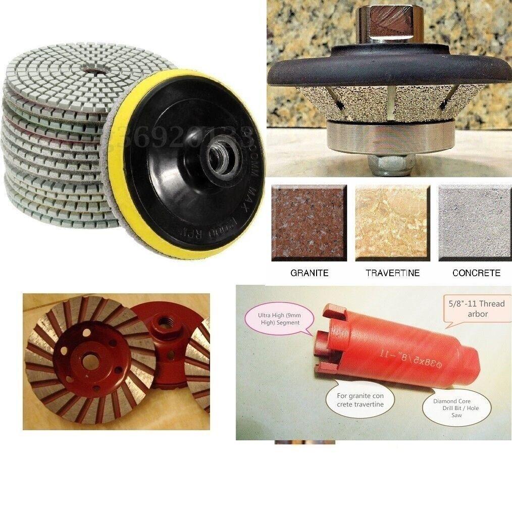 1  Bevel Bullnose Granite concrete 1 3 8  core bit 15 polish pad grinding cup