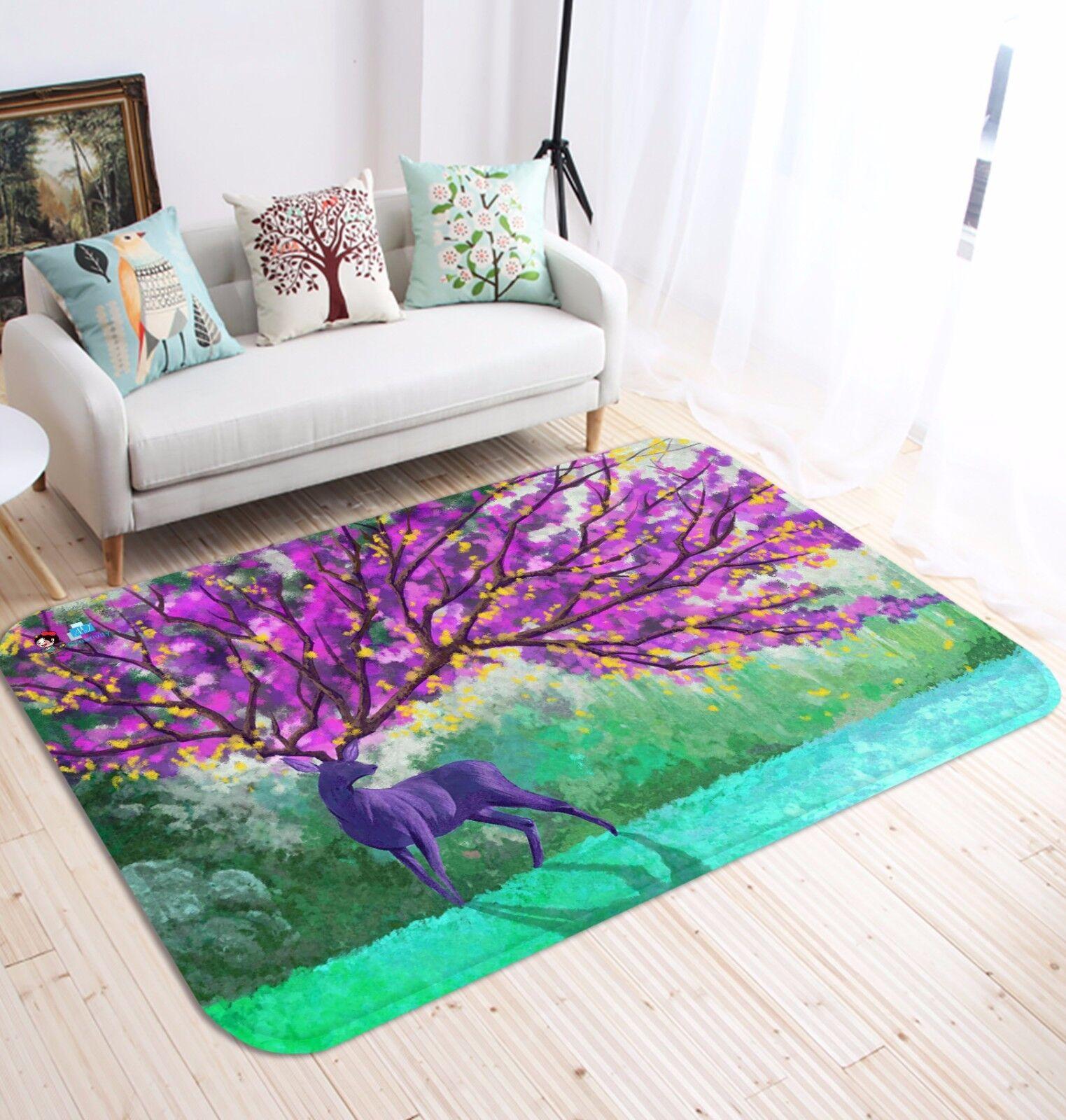 3D viola Deer 51 Non Slip Rug Mat Room Mat Quality Elegant Photo Carpet US