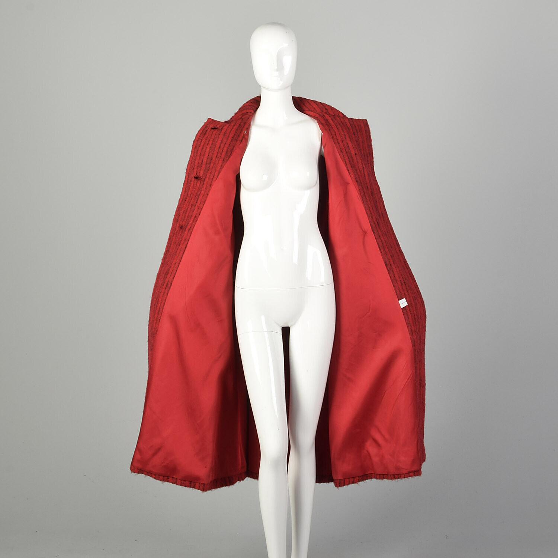 Medium 1980s Pauline Trigere Coat Red Black Strip… - image 6