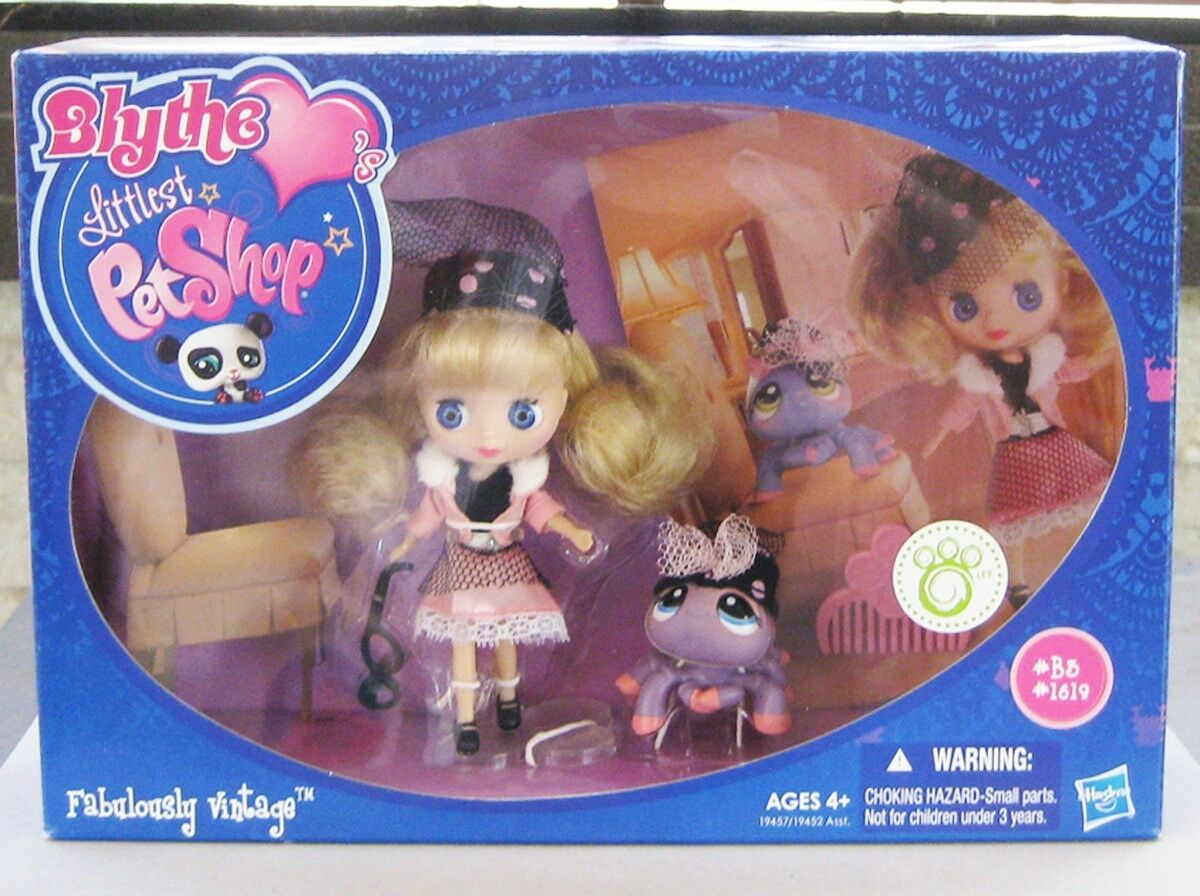 LITTLEST PET SHOP FABULOUSLY VINTAGE SET, BLYTHE DOLL B3 WITH SPIDER BNIB