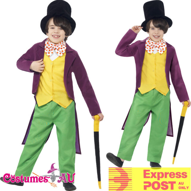 Boys Willy Wonka Charlie Chocolate Factory Book Week Fancy Dress Costume a