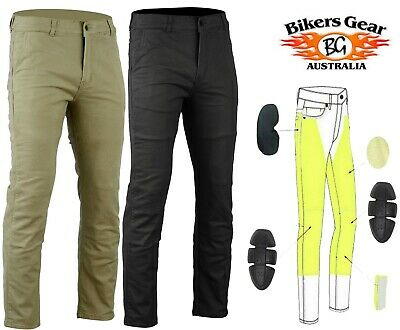 Tan Bikers Gear Australia New Modern Chino Style Kevlar Lined Protective Motorcycle Jeans with CE 1621-1 Protection Size 30R