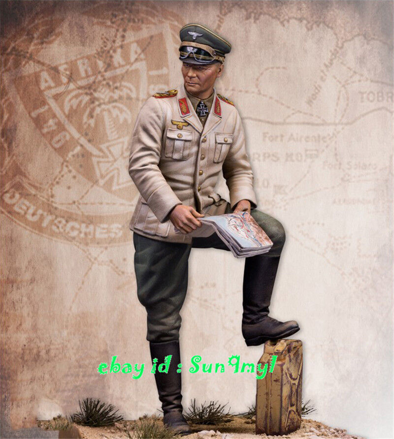 1 24 Unpainted Rommel Soldier Figure Holding Map Resin Statue GK Unassembled