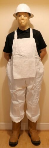 """FIT FOR THE JOB PAINTERS BIB /& BRACE DUNGAREES OVERALL SIZE XXXL 48/"""" WHITE"""