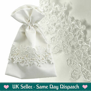 Details About Luxury Wedding Favours Gift Bags Vintage Ivory Lace Pearl Pouches 10 Pack