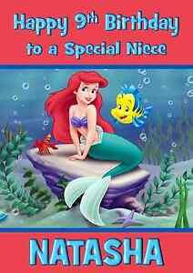 Image Is Loading Disney Little Mermaid A5 Personalised Birthday Card Daughter