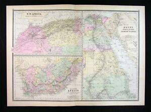 Suez Canal On Africa Map.1887 Bradley Map South Africa Egypt Nubia Marocco Algeria Suez