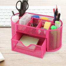 9 In1 Metal Mesh Desktop File Organizer Office School Supply Storage Holder Pink