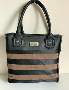 NEW-TOMMY-HILFIGER-BLACK-BROWN-SMALL-SHOPPER-TOTE-BAG-PURSE-69-SALE