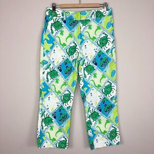 Lilly Pulitzer Blue Green Patch Rope Print Straight Leg Cropped Pants Women's 8