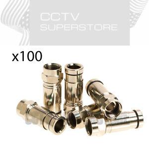 Humble 100 X Rg6 F Coax Coaxial Compression F Connectors Satellite Cable Tv MatéRiaux De Haute Qualité
