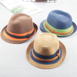 Summer Parent-Child Straw Hat Boys Men s Dad Son Fedora Cap Beach ... b221c1d27c72