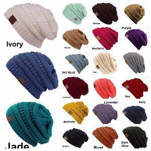 07f96b4915a CC women Slouch Bubble Knit Beanie Cap Baggy Oversize Winter Snow ...