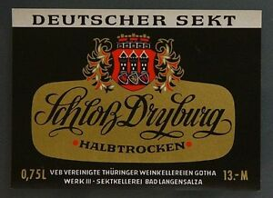 1-DDR-Etikett-Sekt-Schloss-Dryburg-VEB-Sektkellerei-Bad-Langensalza-Gotha