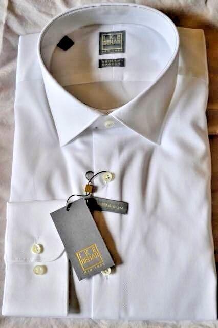 265 NWT IKE BEHAR Gold 15 15.5 herren Texturot Weiß Cotton dress shirt USA