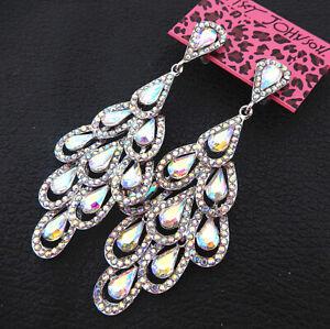 Women-039-s-AB-Glass-Crystal-Leaf-Teardrop-Betsey-Johnson-Dangle-Drop-Earrings