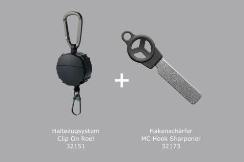 Set Hakenschärfer für Angelhaken Daiichiseiko Haltezugsystem Clip On Reel