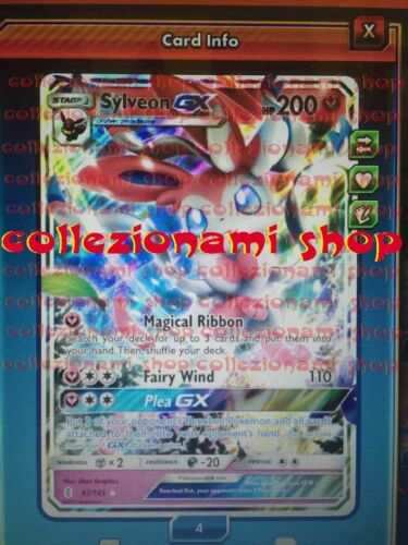 92//145 Sylveon GX Regular for Pokemon TCG Online in Game ptcgo Card Digital