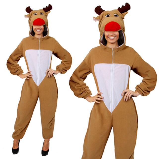 ADULTS UNISEX REINDEER CHRISTMAS COSTUME XMAS RUDOLPH MENS LADIES FANCY  DRESS a789044ec