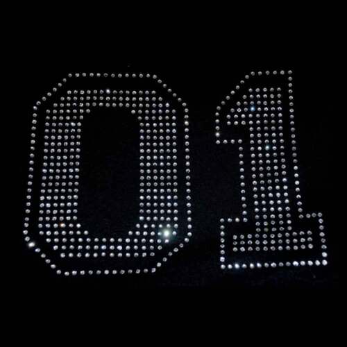 Many colors available! 6 inch Rhinestone Sports Numbers Iron on Transfer
