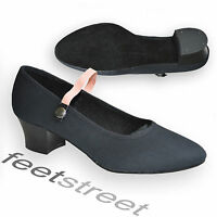 Black Canvas Cuban Heel Character Syllabus Shoes. Uk Size 2 Up To 8