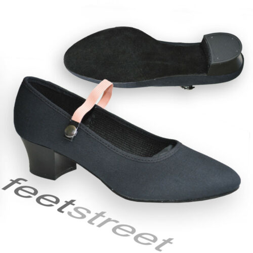High Quality Black Canvas Cuban Heel Character Syllabus Shoes UK  Size 1  to 8