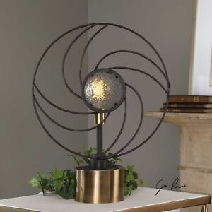 New Modern Rustic Black Forged Metal Seeded Glass Table Lamp Aged