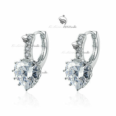 18k white gold gf made with SWAROVSKI crystal stud earrings dangle heart