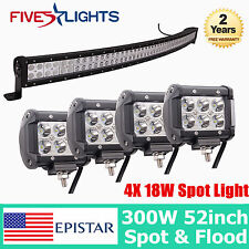 """52"""" 300W +4X 18W EPISTAR LED LIGHT BAR CURVED DRIVING COMBO OFFROAD JEEP 53"""" FS"""