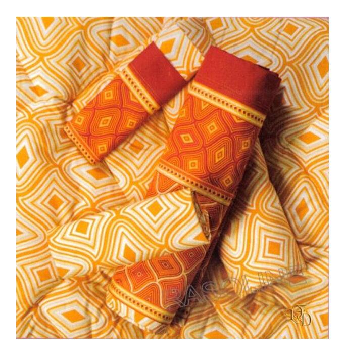 Completo Lenzuola Matrimoniale Motivo Rombo Stilizzato Arancio Aragosta - Gelb