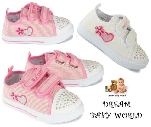 BABY Canvas girls shoes size UK 3-7 TRAINERS Real leather insoles KIDS BOX
