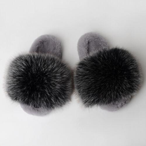 INS Women/'s Sandals Luxury Fox Raccoon Fur Slippers Shoes Full fur Slides Indoor